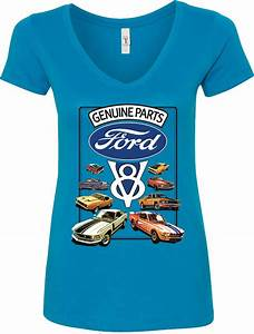 Ladies Ford Mustang T-shirt V8 Collection V-Neck | Mustang t shirts, Shirts, T shirt