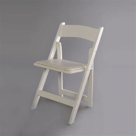 white resin folding chair with white padded seat