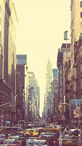 New York Busy Street Sunset iPhone 6 Wallpaper HD