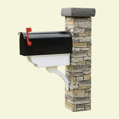 gray stacked mailbox post newspaper holder and flat cap