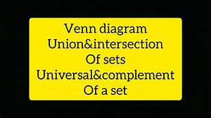 Easy Concept Of Venn Diagram Union And Intersection Of Two