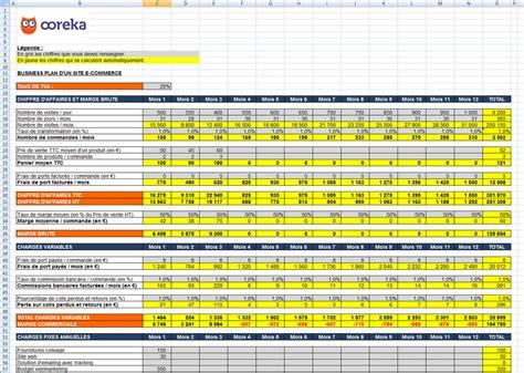 feuille de calcul business plan pour  site  commerce