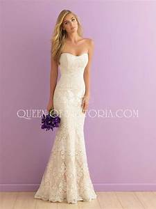 Chic Mermaid Strapless Sweetheart Floor Length Subtle Lace ...
