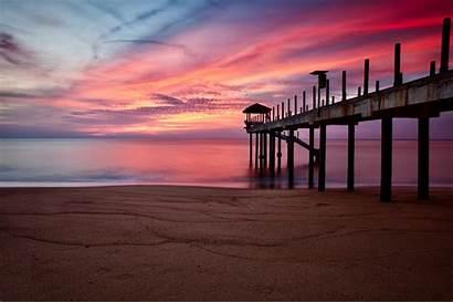 Sand Pier Beach Pink Purple Sky Sunset
