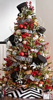 black white and red decorated christmas tree designcorner