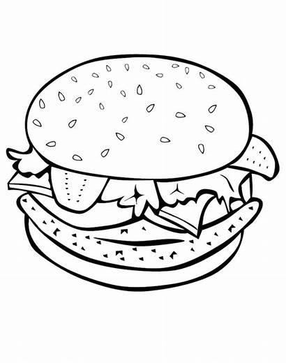 Hamburger Coloring Burger Printable Sheets Colouring Kolorowanka