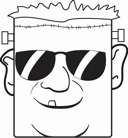 Frankenstein Coloring Pages Halloween Sunglasses Printable Wearing