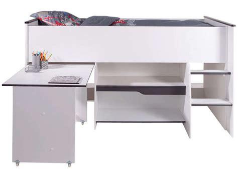 lit bureau conforama lit surélevé combiné moby coloris blanc et gris vente de