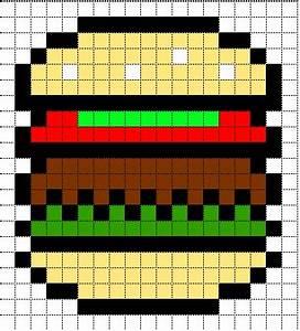 Minecraft Pixel Art Templates: HamBurger | pixel art ...
