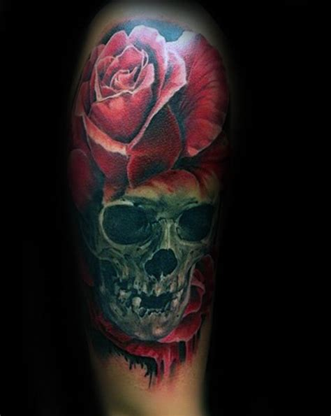 realistic rose tattoo designs  men floral ink ideas