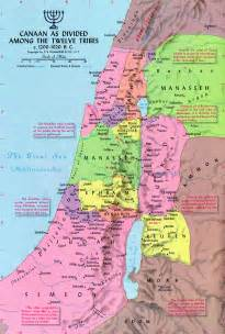 12 Tribes of Israel in Canaan Map