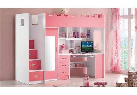 lit surélevé avec bureau intégré lit pour chambre de fille lit original pour aménager une