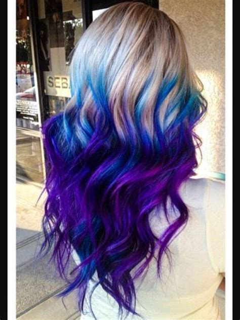 Electric Blue And Purple Ombre Hair Hair Dyed Hair