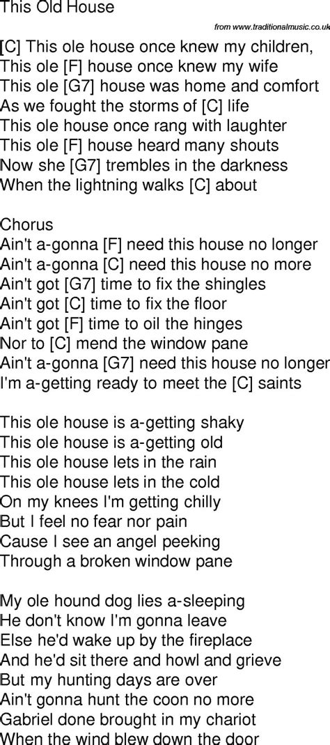 time song lyrics with chords for this house c songs