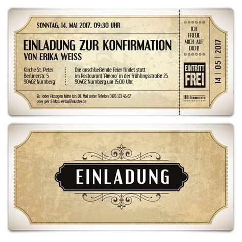 konfirmation einladungskarten vintage eintrittskarten