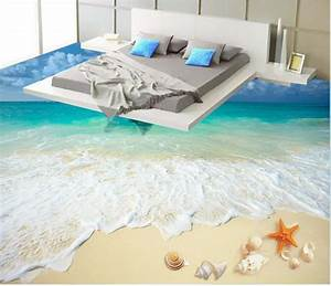 custom photo floor wallpaper 3d beach floor 3d wall murals With balkon teppich mit sticker tapete