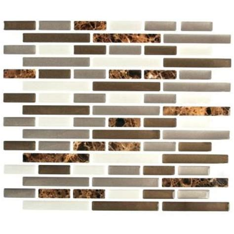 home depot wall tile adhesive stick it tiles 11 in x 9 25 in mixed brown marble oblong
