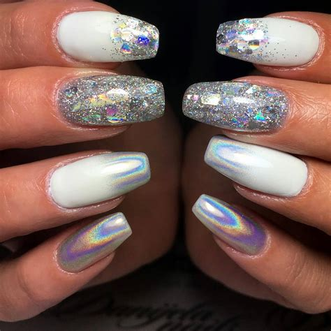 fancy white coffin nails bright  fasionable designs