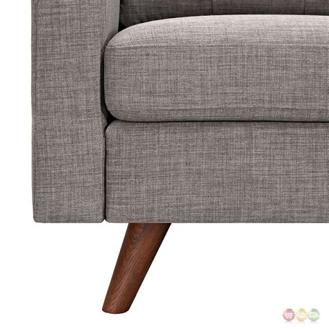 uma mid century modern grey fabric button tufted sofa w