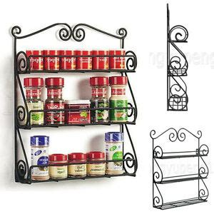 Scroll Spice Rack by Black 3 Tier Wall Mountable Scroll Spice Rack Metal