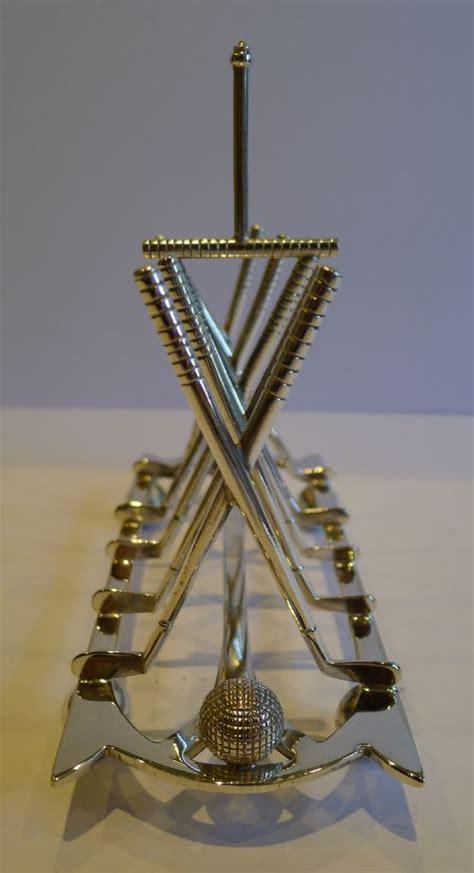 antique english golf toast rack letter holder  silver plate  roberts belk