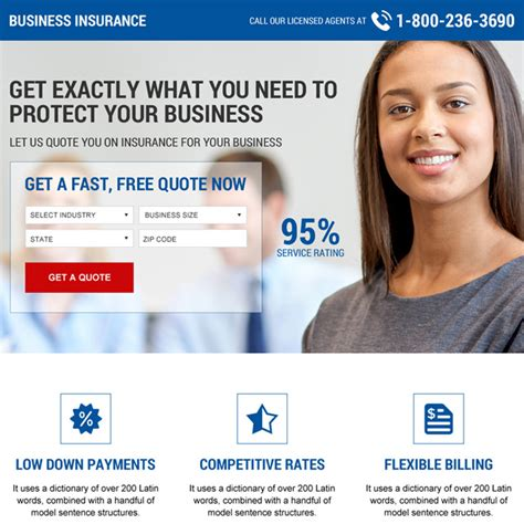 business insurance quotes business insurance mini landing page design template