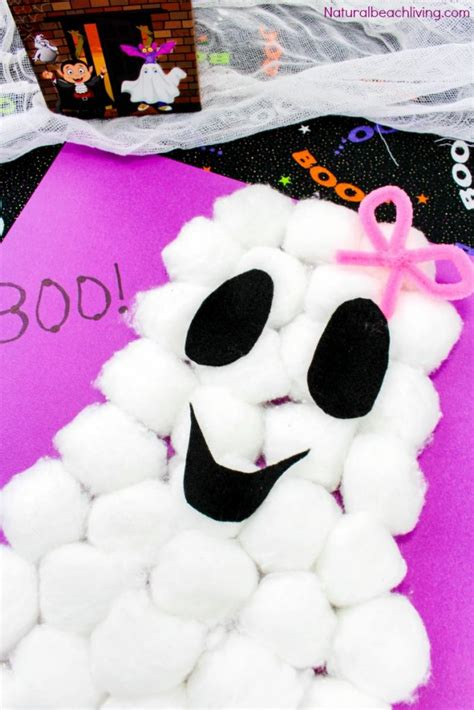 easy cotton ghost craft for preschoolers 638 | Cotton Ball Ghost Craft pin4 683x1024