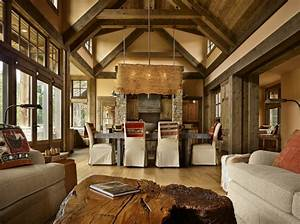 Mountain getaway home is elegantly rustic and just right