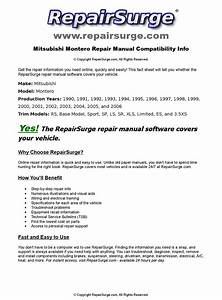 Mitsubishi Montero Online Repair Manual For 1990  1991