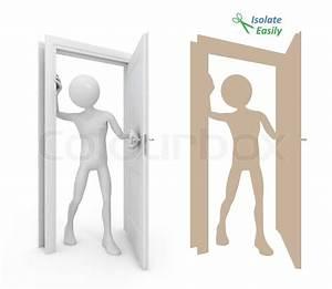 Man opening door. Isolate easily | Stock Photo | Colourbox