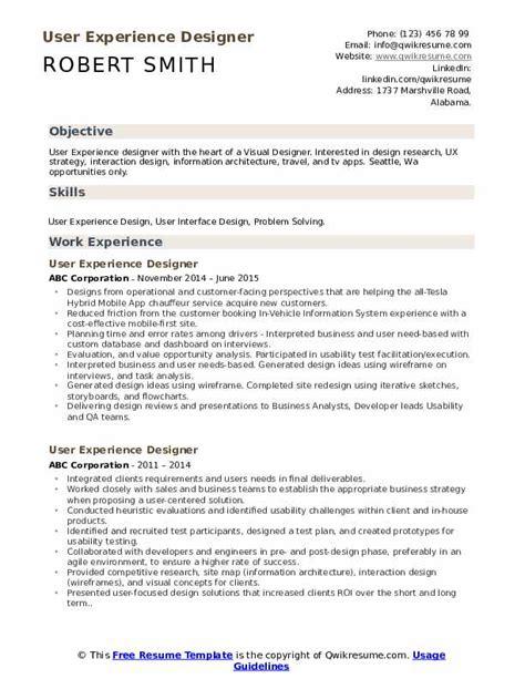 user experience designer resume samples qwikresume