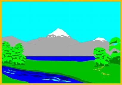 Mountain Lake Clipart Landscape Mountains Illustration Cartoon