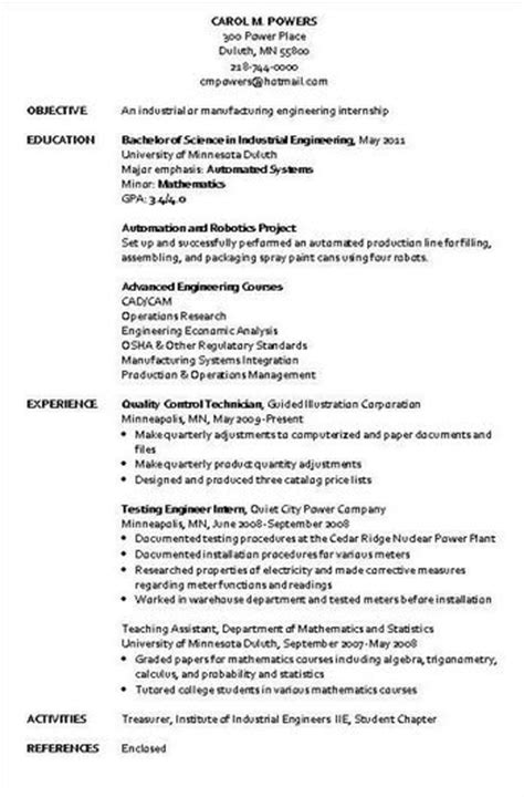 Curriculum Vitae Industrial Engineer Sle by Industrial Engineer Resume Sle