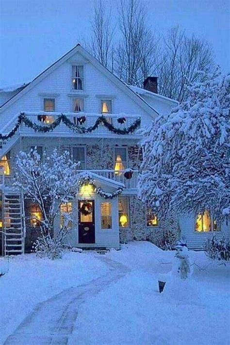cozy winter christmas snow house winter wonderland