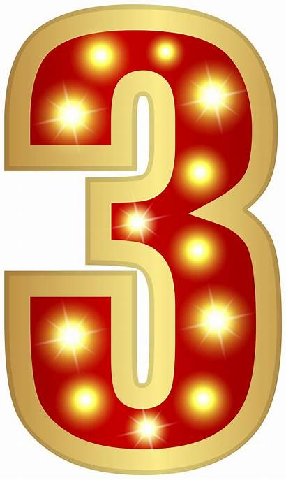 Number Glowing Clipart Three Decorative Transparent Yopriceville
