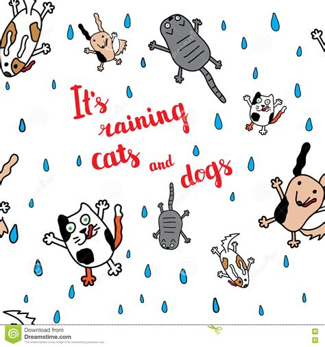 It's Raining Cats And Dogs Autumn Card Stock Vector