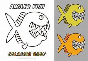 Free Cartoon Angler Fisch Vektor Malbuch Kostenlose
