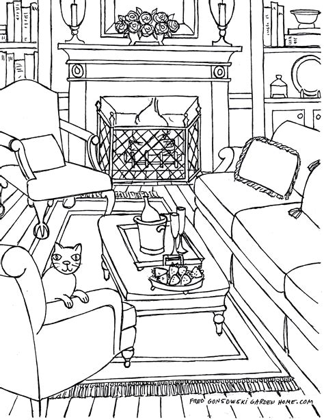 Coloring Living Room by Coloring Pages For Adults Some Drawings Of Living Rooms
