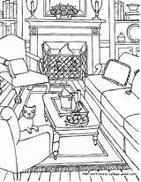 Room Coloring Living Pages Perspective Drawing Adults Colouring Point Adult Line Drawings Rooms Sketch Bedroom Printable Interior Colour Getdrawings Books sketch template