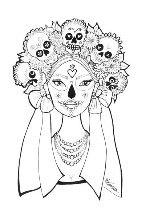printable day   dead coloring pages  heather