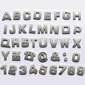 3d custom plastic silver gold bronze adhesive letters With small silver letter stickers