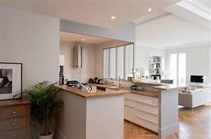 plan cuisine ouverte sur salon refais le carrelage le With toute les couleurs de peinture 10 cuisine blanche pour ou contre cate maison