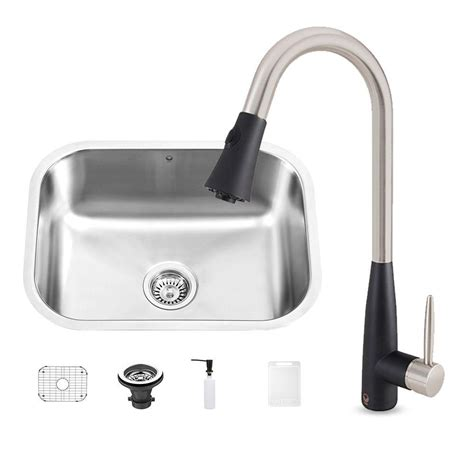 all metal kitchen faucet vigo all in one undermount stainless steel 23 in 0