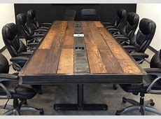 IndustrialVintage Conference Room Table w Raw Steel Body and