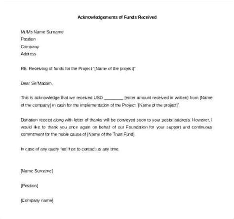 letter  receipt  payment acknowledgement letter