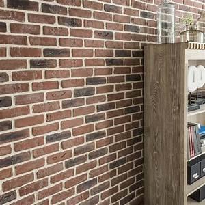 Parement Bois Adhesif : plaquette de parement pl tre rouge chelsea leroy merlin ~ Premium-room.com Idées de Décoration