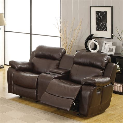 furniture glamour reclining loveseat  center console