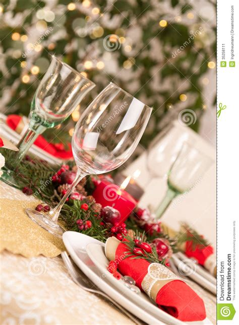 christmas table setting  holiday decorations stock