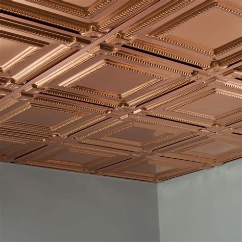 fasade ceiling tile 2x2 suspended coffer in polished copper