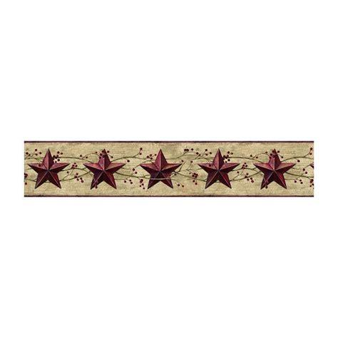 jlb berries country tin dark red stars wallpaper border york ebay